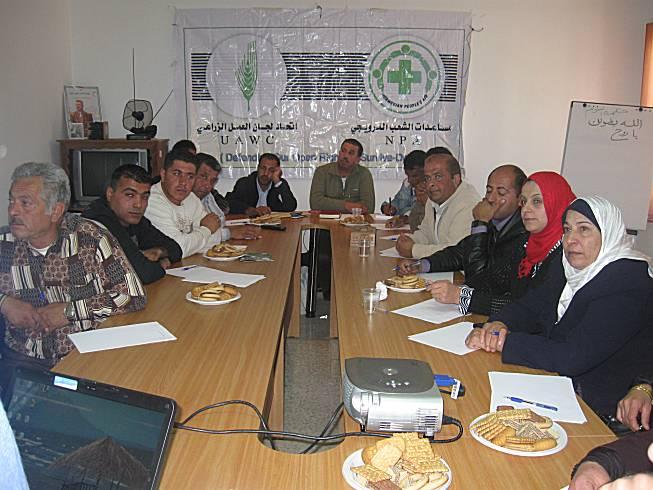 عقد اتحاد لجان العمل الزراعي ورشة عمل للجانه الزراعية في مكتب الاتحاد في رام الله